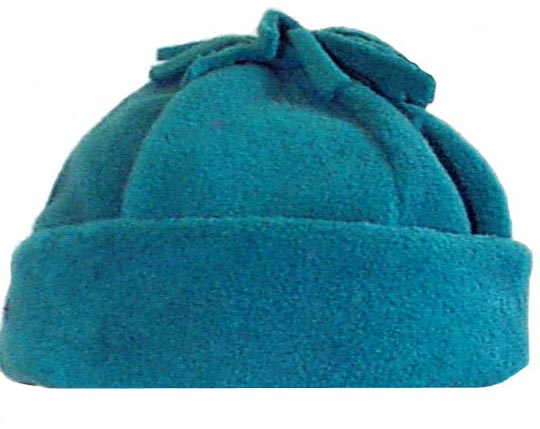 Tassel Polar Fleece Cuffed Six Panel Beanie Hat Turquoise