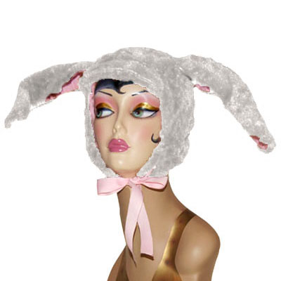 Faux Fur Bunny Novelty Animal Hood in White