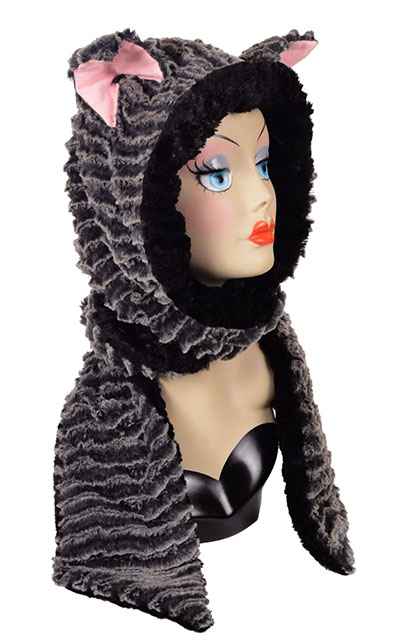 Faux Fur Hooded Animal Fully Lined Scarf, Mitten Pockets Desert Charcoal Cuddly Black