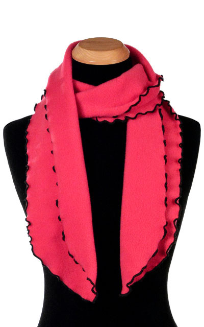 Pink Polar Fleece Ruffled Scarf