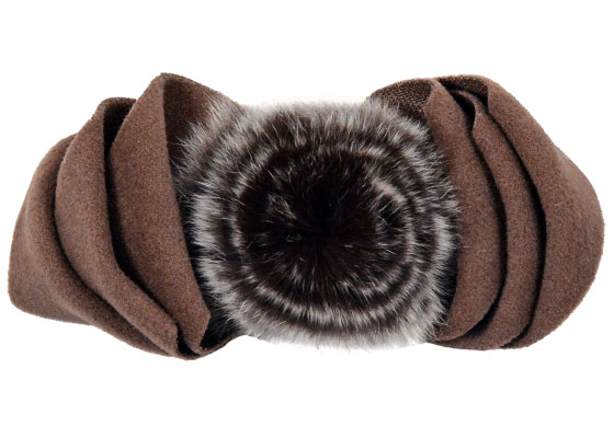 Polar Fleece & Fur Bow in Brown