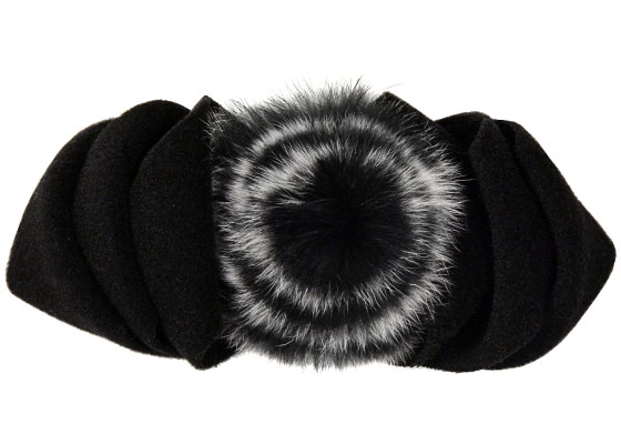 Polar Fleece & Fur Bow in Black