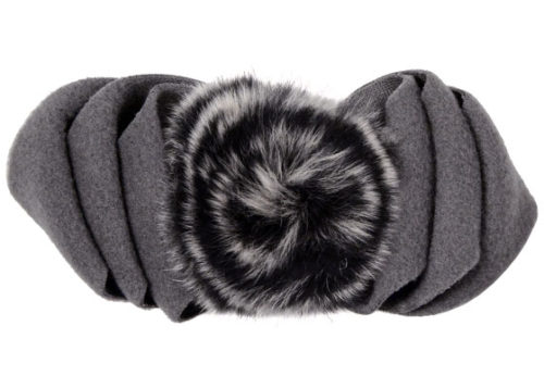 Polar Fleece & Fur Bow in Gray