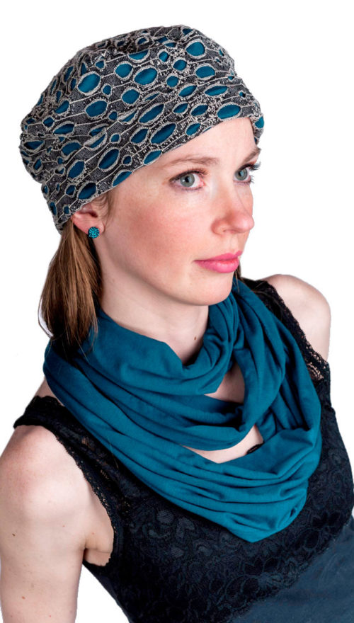 Infinity Scarf in Candy Shop Jersey Knit in Blue Razz Model Shot