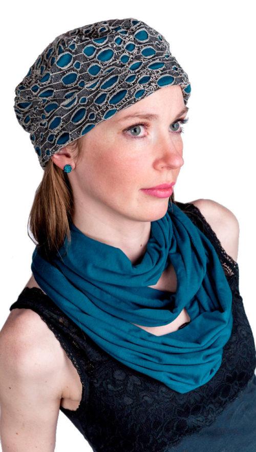Infinity Scarf in Candy Shop Jersey Knit in Blue Razz Model Shot