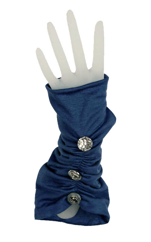 Ruched Fingerless Gloves in Candy Shop Jersey Knit in Blue Razz