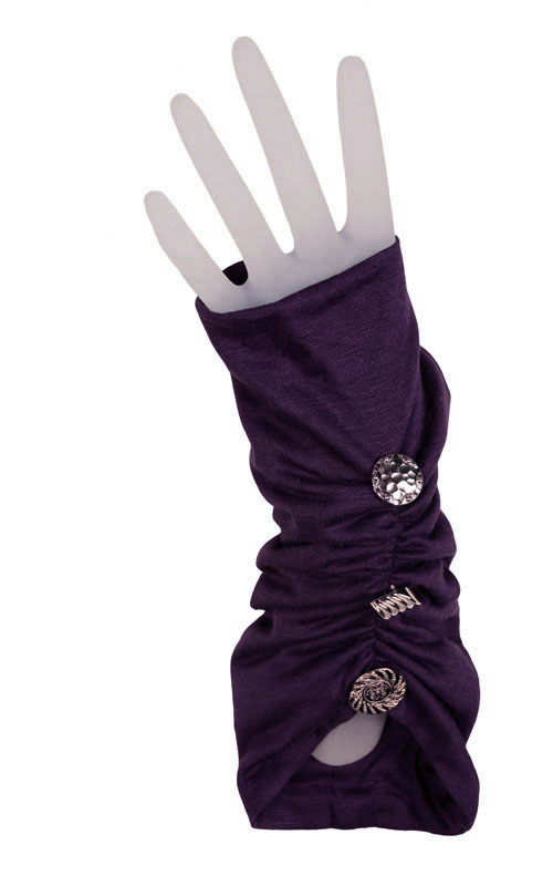 Ruched Fingerless Gloves in Candy Shop Jersey Knit in Plum Pudding