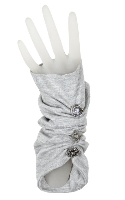 Ruched Fingerless Gloves in Candy Shop Jersey Knit in Silver Pear