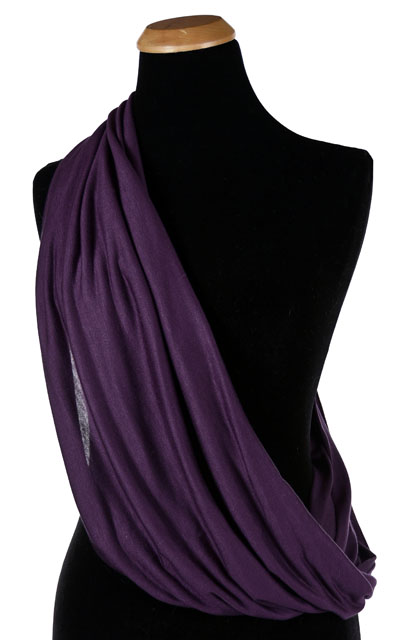 Wide Infinity Scarf in Candy Shop Jersey Knit in Plum Pudding