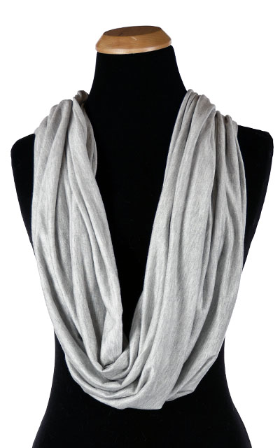 Wide Infinity Scarf in Candy Shop Jersey Knit in Silver Pear